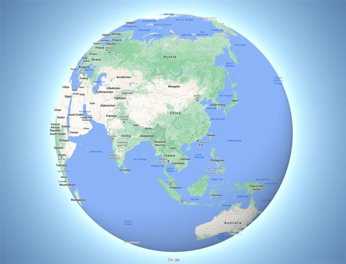China globe perspective (Map data ©2021 Google, SK telecom)