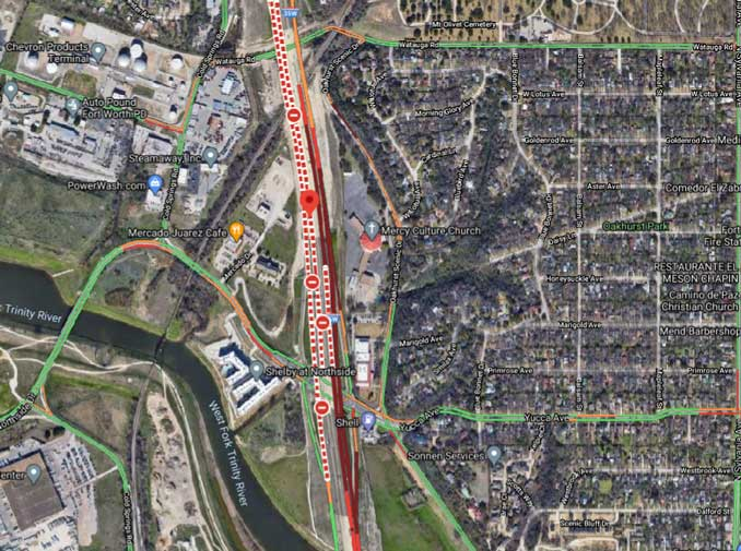 Crash Map Fort Worth pileup Thursday, February 11, 2021 (Imagery ©2021 Maxar Technologies, U.S. Geological Survey, USDA Farm Service Agency, Map data ©2021 Google)