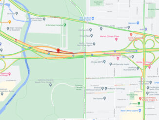 Crash Map I-90 West near I-190 exit and west of Cumberland Avenue near Rosemont and Chicago (Map data ©2021 Google)