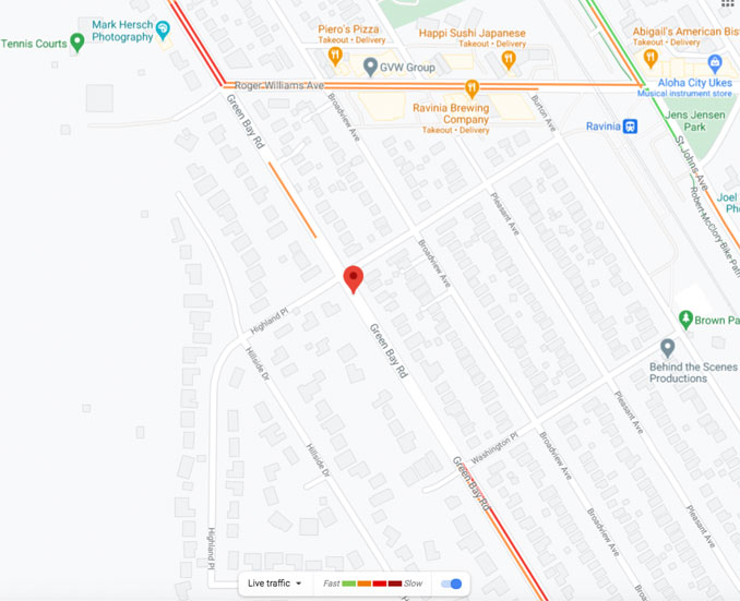 Map of gas main fire Green Bay Road near Highland Place (Map data ©2021 Google)