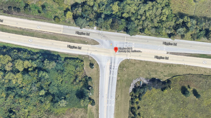 Aerial view of Higgins Road and Beverly Road in Hoffman Estates (Imagery ©2021 Google, Imagery ©2021 Maxar Technologies, U.S. Geological Survey, Map data ©2021)