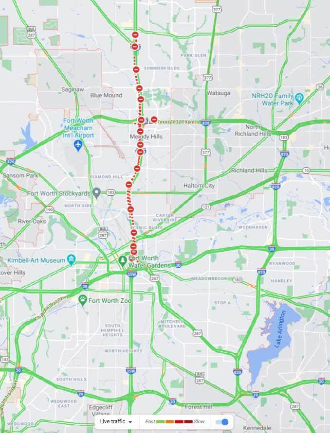 I-35 Closed at 10:45 p.m. CT (Map data ©2021 Google)