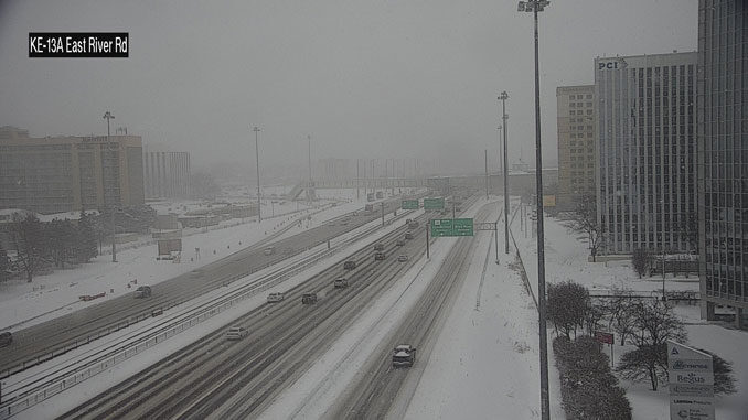 Lake Effect Snow on Kennedy Expressway near River Road on the afternoon of Monday, February 15, 2021 (SOURCE: IDOT)