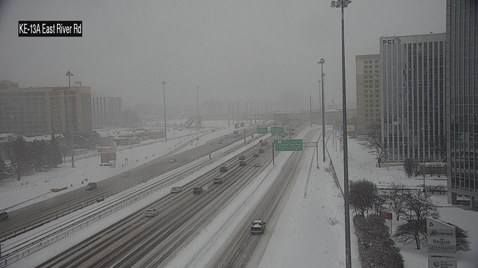 Lake Effect Snow on Kennedy Expressway near Cumberland Avenue on the afternoon of Monday, February 15, 2021 (SOURCE: IDOT)