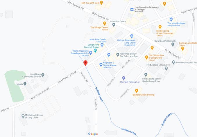 Long Grove Covered Bridge on Robert Parker Coffin Road over Buffalo Creek (Map data G2021 Google)