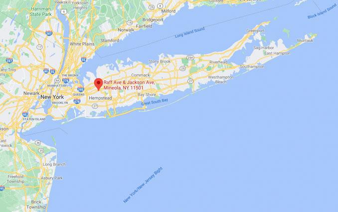 Map of Long Island Raffe Avenue/Jackson Avenue and Roslyn Road (Map data ©2021 Google)