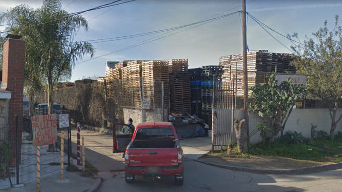 Pallets pile in the block of 600 East Weber Avenue in Compton, California (Image capture February 2019 ©2021 Google)