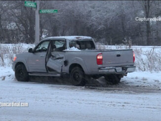 Pickup truck crash with IDOT snow plow at Northwest Highway and Chicago Avenue in Arlington Heights