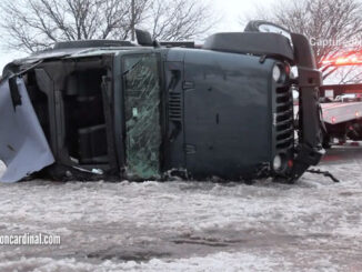 Rollover black Jeep Wrangler after crash with a parkway tree on Rand Road in Arlington Heights