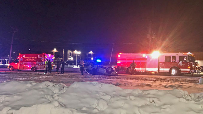 Rollover crash, 1300 North Rand Road Prospect Heights on Sunday, February 7, 2021