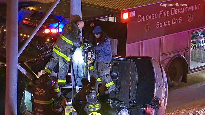 CFD Squad 5 pulled up close to the crash extrication scene on the southbound Dan Ryan Expressway on Tuesday, February 9, 2021 (PHOTO: CapturedNews)