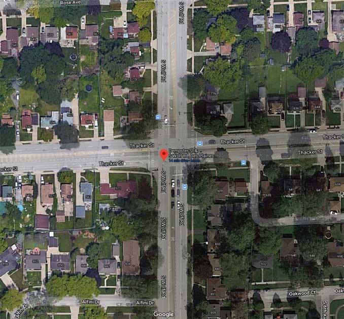 Thacker Street and Wolf Road Des Plaines (Imagery ©2021 Maxar Technologies, Sanborn U.S. Geological Survey, USDA Farm Service Agency, Map data ©2021 Google)
