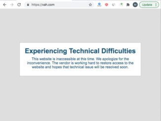 Village of Arlington Heights website experiencing technical difficulties (Screen Capture of vah.com)