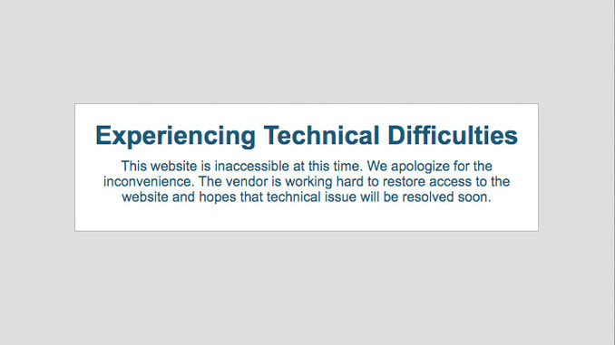Village of Arlington Heights website experiencing technical difficulties (Screen Capture of vah.com)
