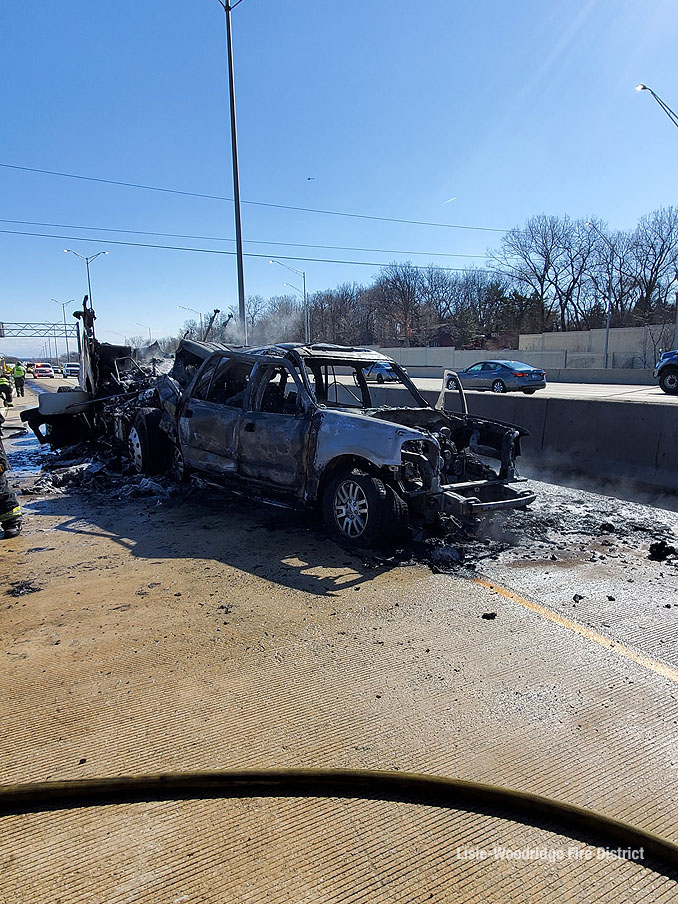 Crash with fire involving a bobtail and a white Ford Expedition on I-88 West near Naperville Road (SOURCE: Lisle-Woodridge Fire District)