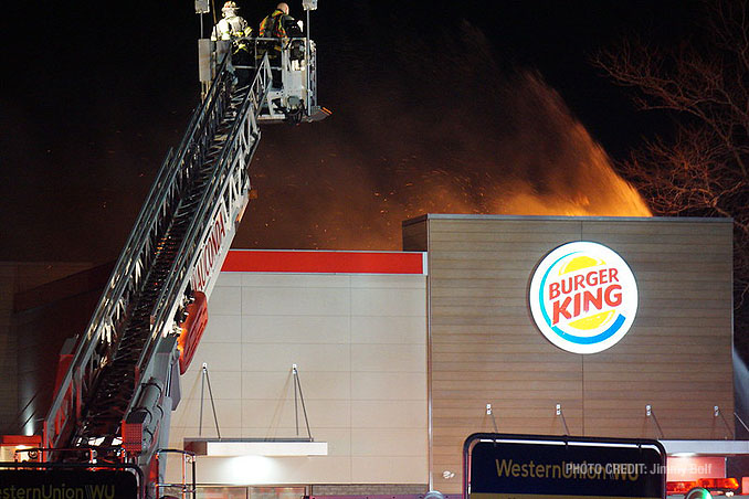 Wauconda Tower crew at an extra alarm fire at Burger King on Rand Road in Lake Zurich (PHOTO CREDIT: Jimmy Bolf)