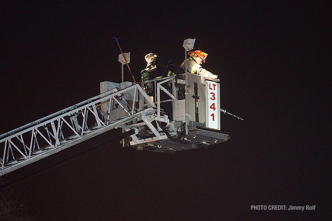 Wauconda Ladder Tower crew at extra alarm fire at Burger King on Rand Road in Lake Zurich (PHOTO CREDIT: Jimmy Bolf)