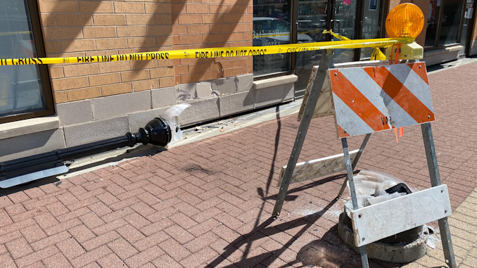 Damage to brick and stone at Bath & Body Works after a car crashed into the wall 41 S. Evergreen Ave., Arlington Heights