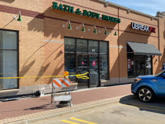 Damage to brick and stone and a lamp post at Bath & Body Works after a car crashed into the wall 41 S. Evergreen Ave., Arlington Heights