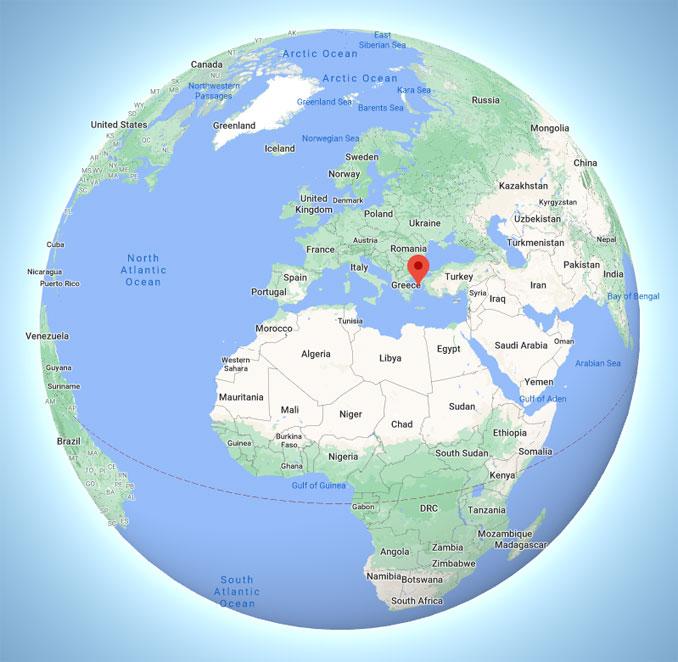 Aegean Sea globe view (Map data ©2021 Google, INEGI).