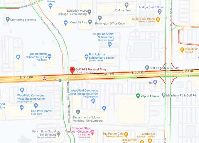 Crash map Golf Road National Parkway Schaumburg (Map data ©2021 Google)