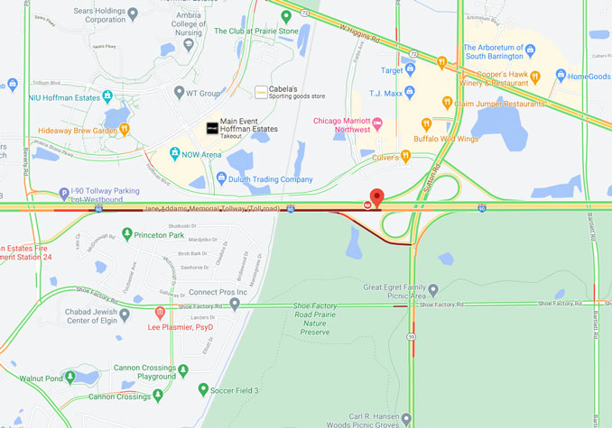 Crash Map with traffic layer at I-90East near Sutton Road near Hoffman Estates (Map data ©2021 Google)
