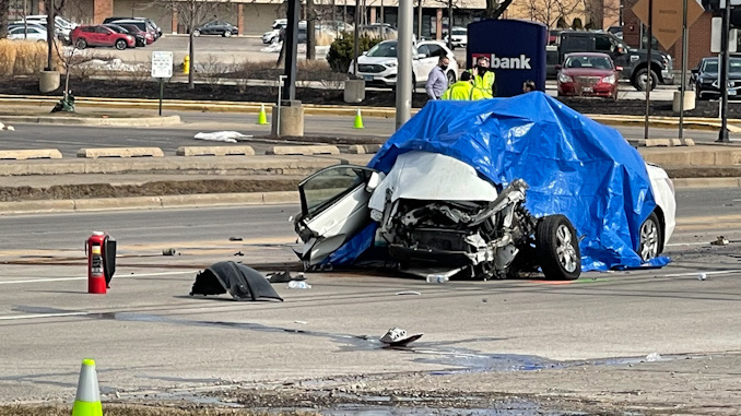 Francisco Flores Rodriguez, Georgina Perez Gomez, and Javier Flores Perez were traveling in this white Honda sedan when they were killed in a high-speed crash at Rand Road and Mount Prospect Road in Mount Prospect