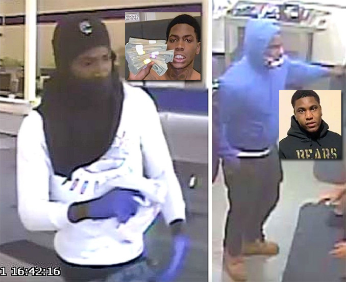 Falandis Russell (left) and Terrance Williams (right). Suspect holding money displayed on Williams' social media account identity not initially confirmed by media (SOURCE: U.S. Attorneys Northern District of Illinois)