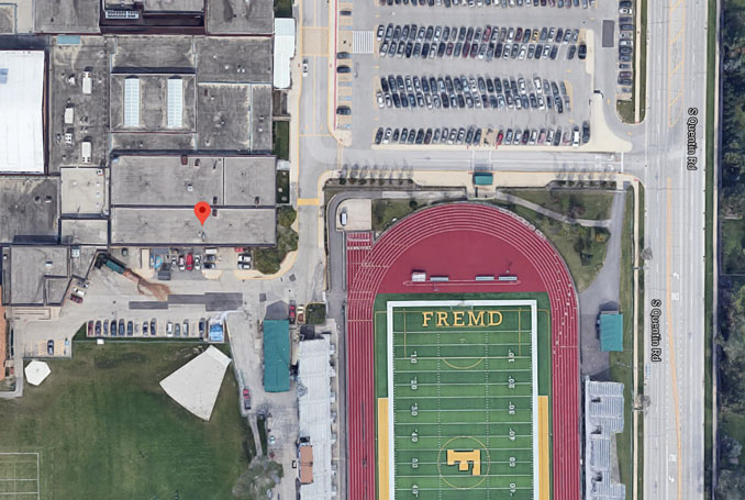 William Fremd High School satellite view roof rescue location (Imagery ©2021 Google, Imagery ©2021 Maxar Technologies, U.S. Geological Survey, Map data ©2021)