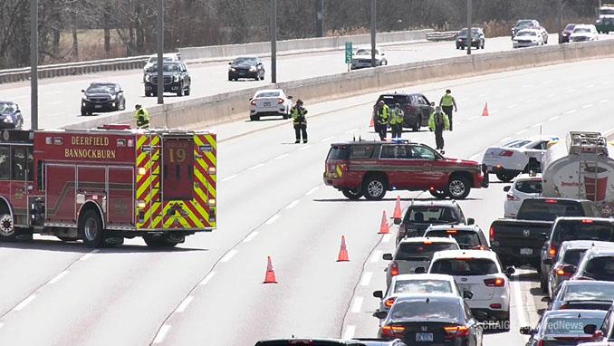 Crime scene on I-94 East (southbound) after shots fired Sunday, March 28, 2021 (PHOTO CREDIT: Craig | CapturedNews)