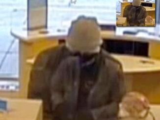 Bank robber at BMO Harris Bank, 9101 Cermak Avenue in Riverside (surveillance video still)