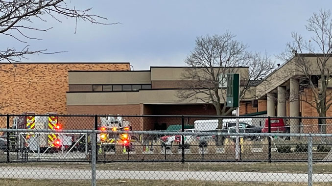 Roof rescue by Palatine firefighters and paramedics at Fremd High School in Palatine