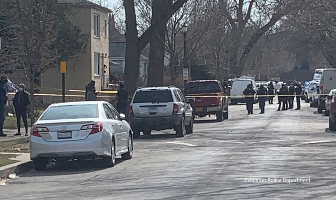 Shooting scene at Hovland Court north of Evanston Township High School in Evanston (Evanston Police Department)