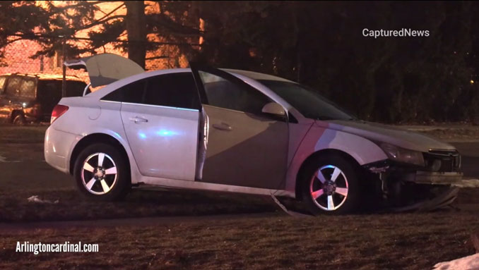Shooting victim found in slightly wrecked white sedan on front lawn at house on High Grove Lane