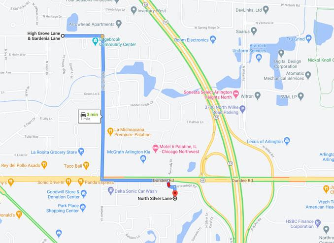 Silver Lane trip to High Grove Lane after shooting in Palatine Township (Map data ©2021 Google)