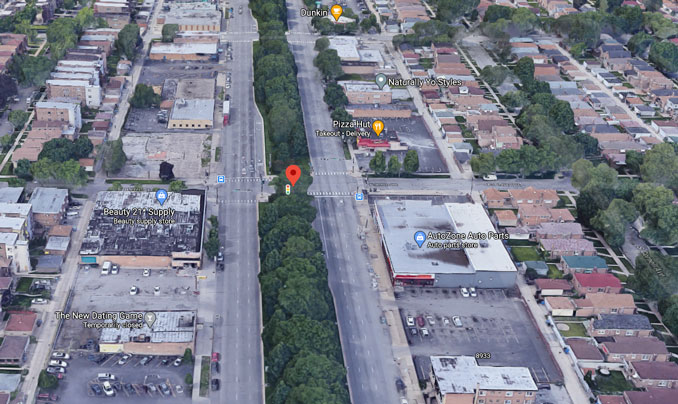 Stony Island Avenue and 89th Street Chicago aerial view (Imagery ©2021 Google, Imagery ©2021 Maxar Technologies, U.S. Geological Survey, USDA Farm Service Agency, Map data ©2021)