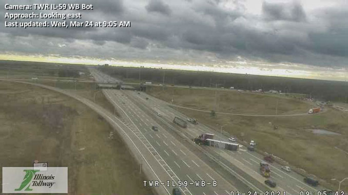 Truck rollover crash on I-90 East at Sutton Rd (SOURCE: Illinois Tollway)