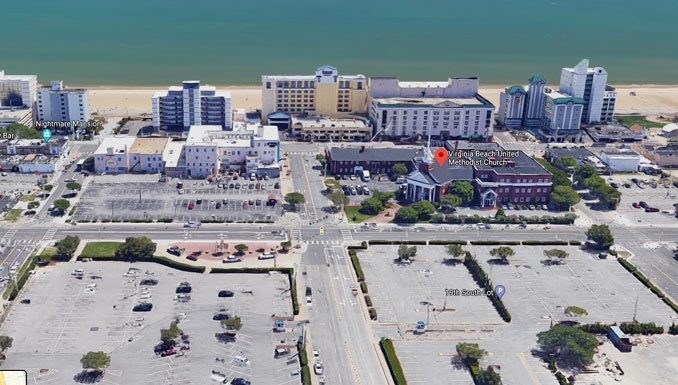Virginia Beach shooting scene aerial (Imagery ©2021 Google, TerraMetrics, Data SIO, NOAA, U.S. Navy, NGA, GEBCO, Data LDEO-Columbia, NSF, NOAA, Landsat / Copernicus, Imagery ©2021 CNES / Airbus, City of Virginia Beach, Commonwealth of Virginia, Maxar Technologies, Map data ©2021)