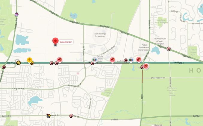 Waze Crash Map I-90East and Sutton Road near Hoffman Estates (SOURCE: Waze ©2021)