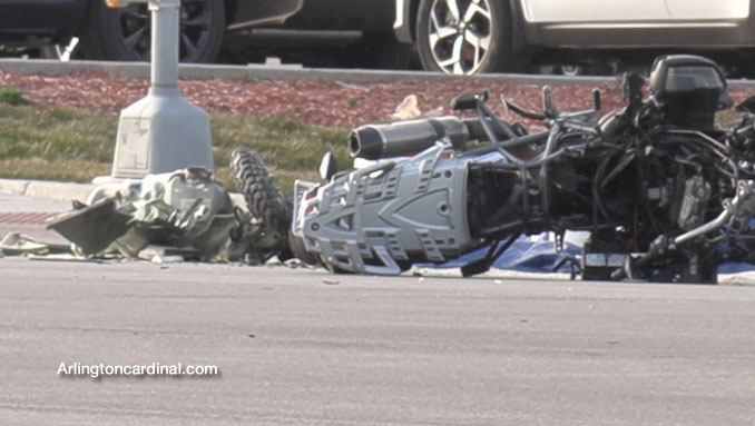 Wrecked motorcycle at Golf Road and National Parkway in Schaumburg on Sunday, March 21, 2021