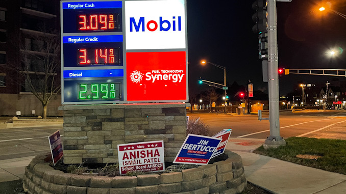 Campaign sign for Anisha Ismail Patel at Vail Avenue and Northwest Highway
