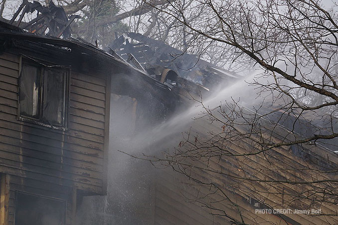Aerial stream at house fire on Holly Lynn Drive in Cary.
