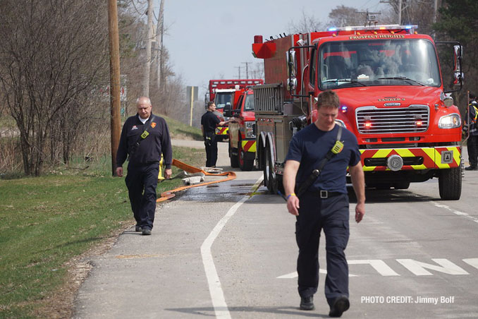 Firefighters at work at Long Grove/Kildeer brush fire on Tuesday, April 6, 2021 (PHOTO CREDIT: Jimmy Bolf)