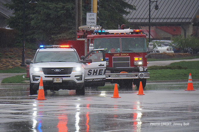 Lake Zurich firefighters and Lake County Sheriff's Office on scene of a fatal crash at Route 12 and Deer Park Boulevard in Deer Park on Thursday, April 8, 2021 (SOURCE: Jimmy Bolf)