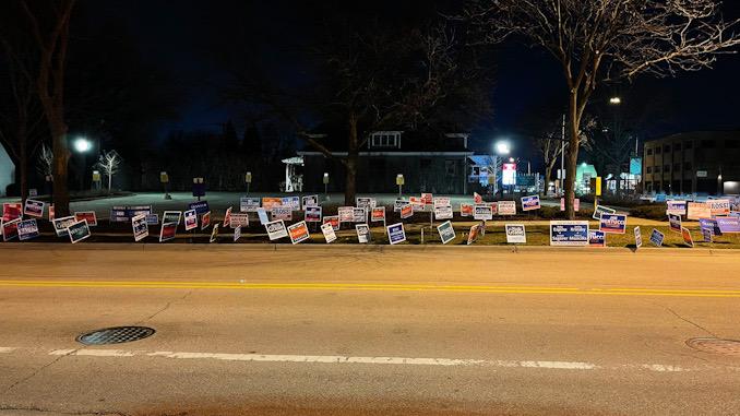 Campaign signs on Sigwalt Street across from Arlington Heights Village Hall