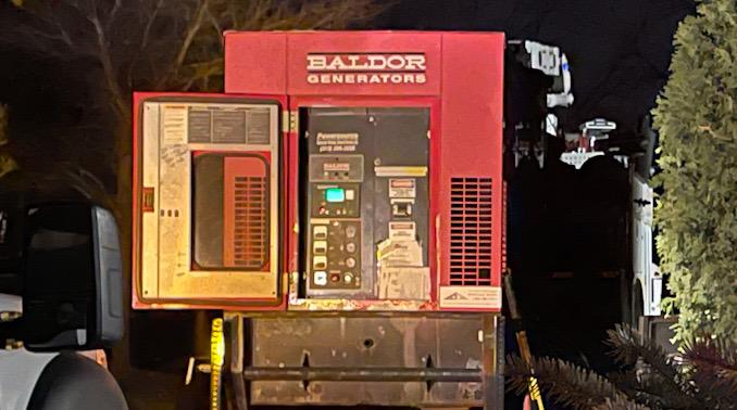 Baldor Generators generator on a trailer at work on Harvard Avenue Thirsday, April 1, 2021