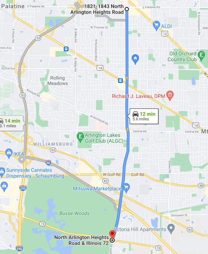 Arlington Heights Road from Palatine Road to Higgins Road (Map data ©2021 Google)