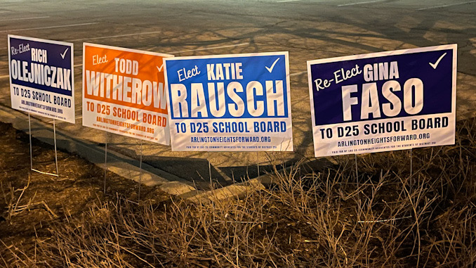 Campaign signs for Arlington Heights Forward candidates