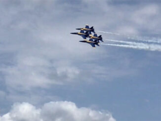 Blue Angels F-18 Super Hornet aircraft at first air show appearance on Saturday, April 17, 2021 in Lakeland, Florida