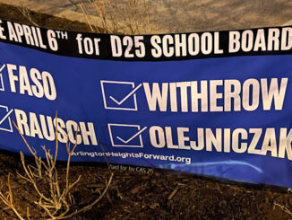 Campaign sign for Arlington Heights Forward candidates